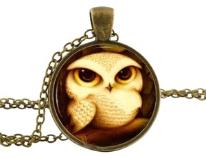 Owl Cabochon Pendant Necklace Antiqued Gold J1910 Summersale
