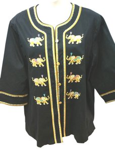 Bob Mackie Embroidered Cotton Top BLACK.YELLOW