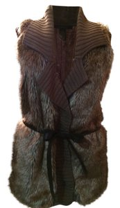 89th & Madison Faux Fur Leather Belt Lined Sweater