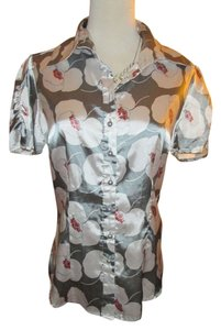 BCBGMAXAZRIA Floral Flower Print Retro Satin Work Business Top Gray, white, and orange