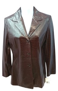 Liz Claiborne Faux Leather Jacket BURGUNDY Blazer