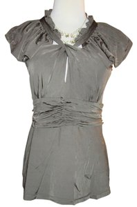 BCBGMAXAZRIA Keyholes Cutouts Cut-outs Ruffle Ruffles Gathering Fitted Top Olive green