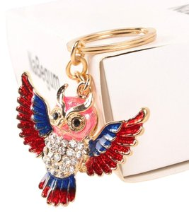 Other New Owl Keychain Crystals Gold Blue Red J1912