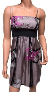 Hype Silk Pink Spaghetti Straps Black Dress