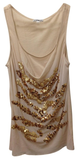 Express Sparkle Night Out Cowl Neck Sequins Gold Top Beige