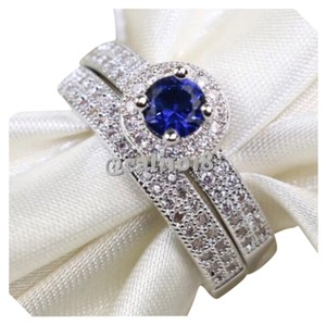 Other 2pc Blue Cz & White Gold Filled Wedding Ring Set