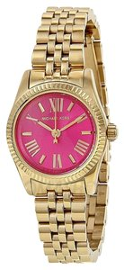 Michael Kors Pink Dial Gold Tone Small Classic Designer Ladies Watch