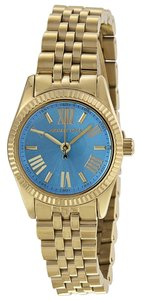 Michael Kors Blue Dial Gold Tone Designer Ladies Watch