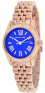 Michael Kors Blue Dial Rose Gold Designer Watch