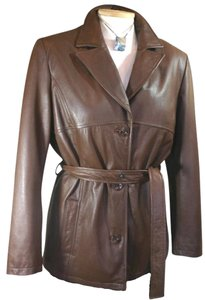 Wilsons Leather Coat Wrap Belted Brown Leather Jacket