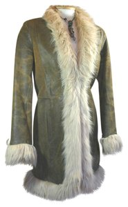 Wilsons Leather Faux Fur Fur Collar Boho Indie Long Brown Leather Jacket