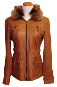 Andrew Marc Supple Fur Fur Collar Detachable Tan / Camel Leather Jacket