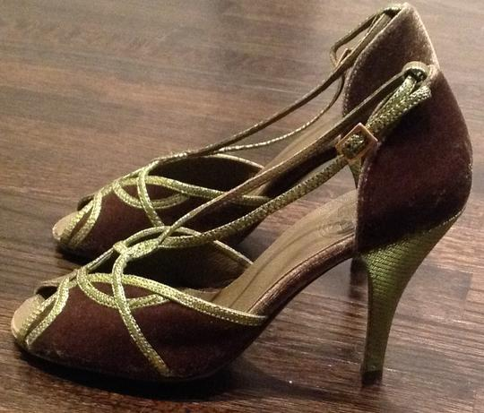 Tory Burch Olive Velvet with Metallic lizard leather trim Sandals