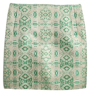 J.Crew Mini Skirt Green, Gold and White Jacquard Skirt