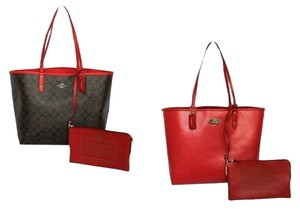 Coach Park Metro City Tote in Black Brown Red