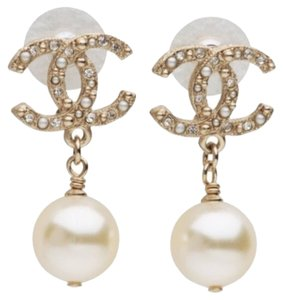 Chanel Chanel Classic CC Crystal Pearl Earrings