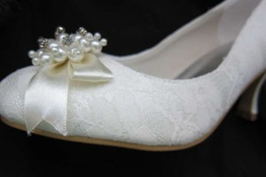 Ivory Lace ~ Pearls ~ Rhinestones Wedding Shoes