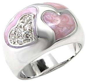 Other New Size 6, Rhodium Plated Pink Enamel & Clear CZ Heart Ring