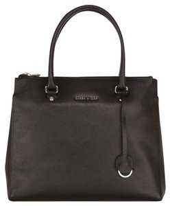 Karen Millen Saffiano Black Leather Large Tote