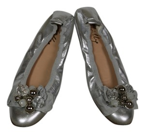 MILLY Leather Bead Accent Silver Flats