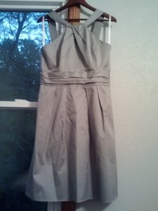David's Bridal Mercury Cotton Short Y-neck and Skirt Pleating Style 83690 Casual Bridesmaid/Mob Dress Size 10 (M)