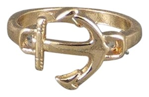 New Size 7, Simple Charm Gold Nautical Anchor Ring in Gold