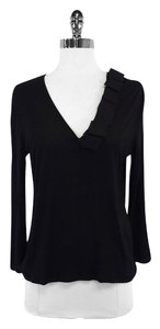Giorgio Armani Black Long Sleeve Semi Sheer Top