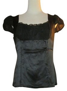 Nanette Lepore Silk Satin Evening Formal Bohemian Romantic Cap Sleeves Top Black