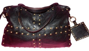 MARTINA CAPONI Soft Can Fold Up Gold Studed 100%leather Brown/blk Satchel