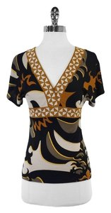 Emilio Pucci Black Multi Color Abstract Top