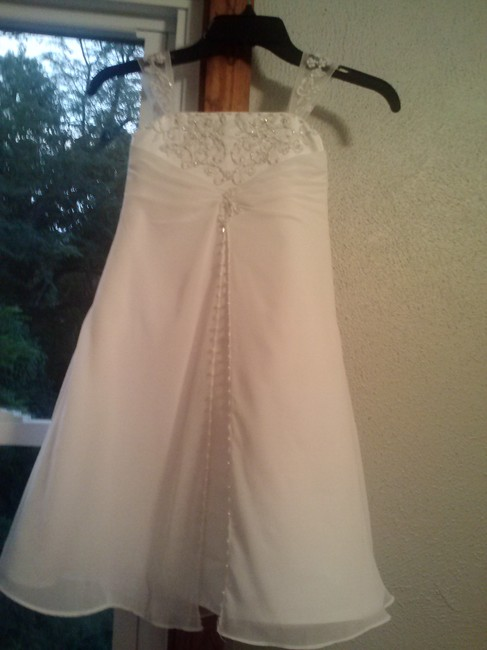 Item - White Satin A-line Gown with Beaded Metallic Embroidery Style Fg9010 Formal Bridesmaid/Mob Dress Size 00 (XXS)