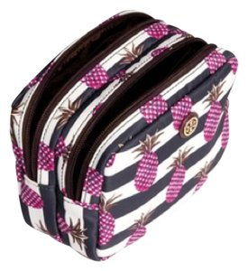 Tory Burch Tory Burch Printed Nylon Small Double Cosmetic Case New With Tag Pineapple Stripe White Blue Pink