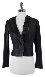 MILLY Black Leather With Ruffled Neckline Blazer