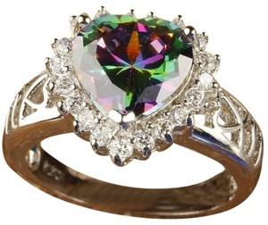 Other New Size 8, Beautiful Sparkling-Loves-Rainbow-White-Topaz-Gemstone-Silver-Ring
