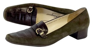 Salvatore Ferragamo Olive Brown Leather Box Toe Heels Pumps