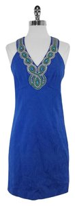 Laundry by Shelli Segal short dress Blue Brocade Embellished Embellished on Tradesy