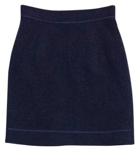 Zac Posen Blue Wool Skirt