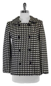 MILLY Black Cream Wool Coat