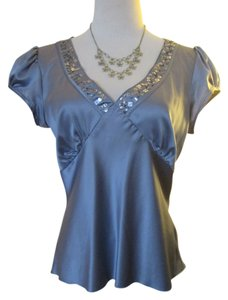 Sunny Taylor Romantic Sequins Evening Formal V-neck Embellished Top Lavender, Lilac, Purple