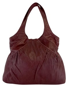 Lauren Merkin Maroon Snakeskin Leather Shoulder Bag