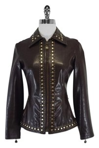 Moschino Brown Leather Studded Jacket