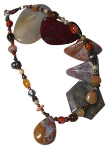 Jasper Gemstone Anklet 10 in. Earth Tones J1914