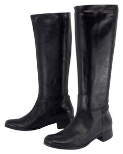 Roberto Del Carlo Black Leather Knee High Boots