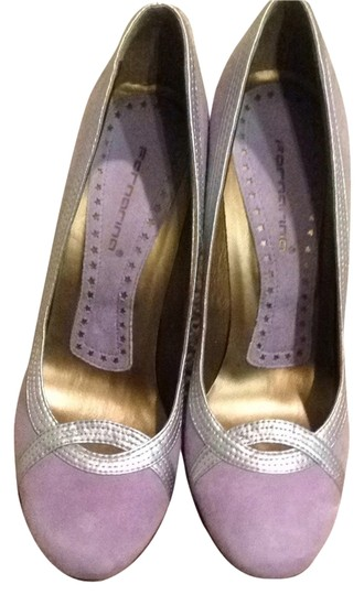 Fornarina Suede Leather Couture Lavender & Silver Pumps