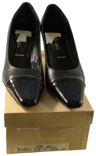 Amalfi Narrow Size Black Leather Pumps