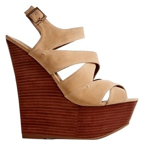 JustFab Wedge Shaelynne Beige Wedges