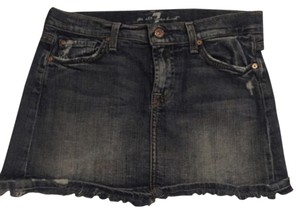 7 For All Mankind Mini Fringe Hem Silver Hardware Mini Skirt Denim