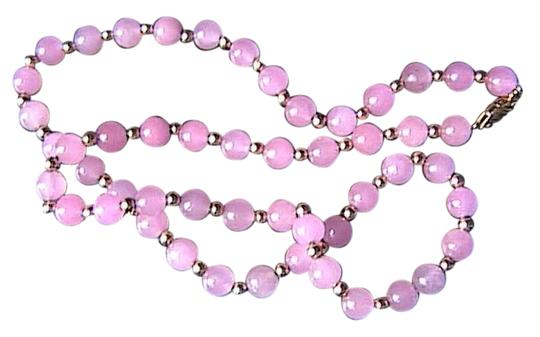 Other 14k Yellow Gold light Pink Quartz Necklace