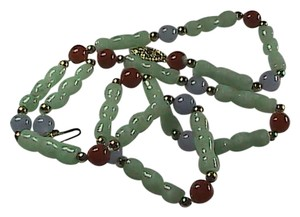 Unknown Multi-Color Jade 14k Solid Yellow Gold Bamboo Link Necklace