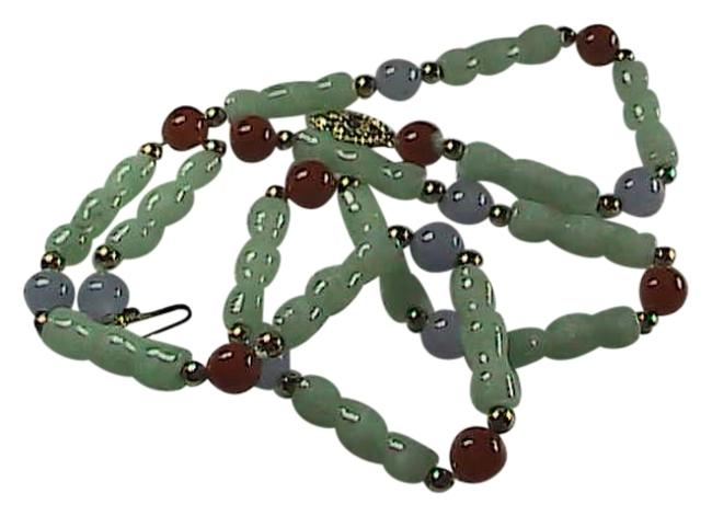 14k Multi Color Jade Solid Yellow Gold Bamboo Link Necklace 14k Multi Color Jade Solid Yellow Gold Bamboo Link Necklace Image 1